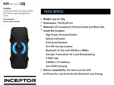 El precio del Inceptor y sus especificaciones son las que se pueden ver en la imagen.