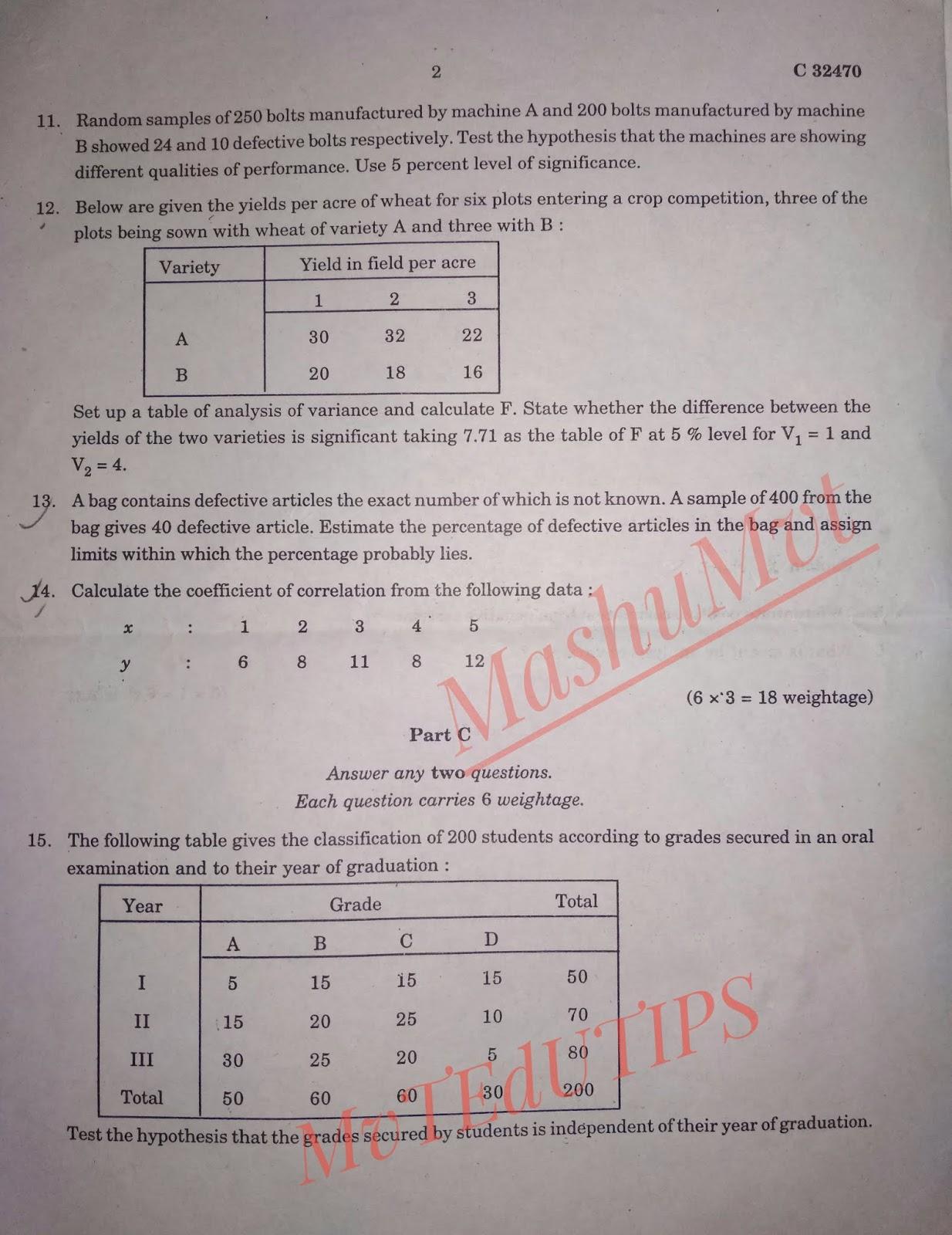 MvTEdUTIPS: Calicut University CUCSS M com QT PY Question Paper 2017