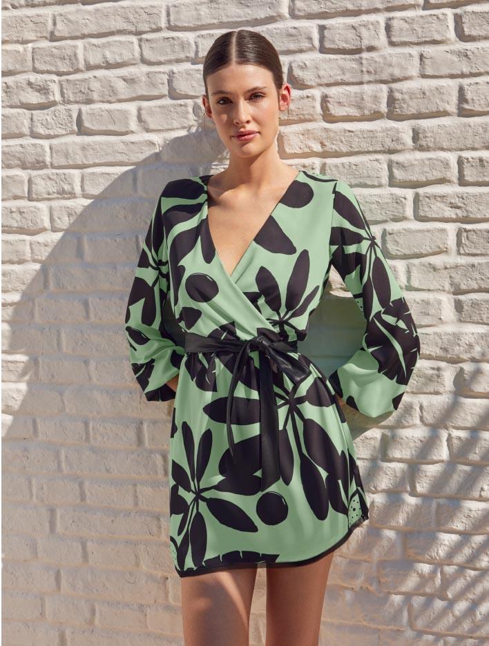 Vestidos de moda 2021 verde estampado moda 2021