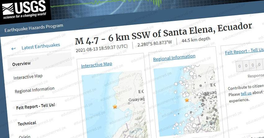 TEMBLOR ECUADOR: Sismo de Magnitud 4.7 (Hoy Viernes 13 Agosto 2021) Epicentro - Santa Elena - USGS