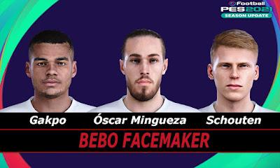 PES 2021 Faces Gakpo & Mingueza & Schouten by Bebo