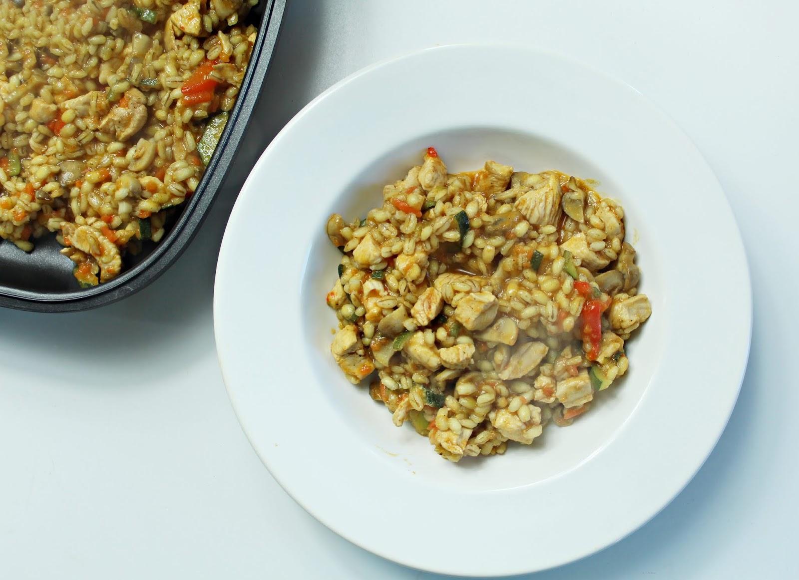 Kaszotto z pęczakiem, kurczakiem i warzywami
