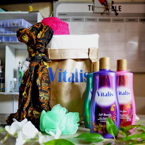 vitalis perfumed moisturizing body wash goodie bag
