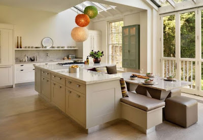 White kitchen island design ideas with seating area or breakfast nook