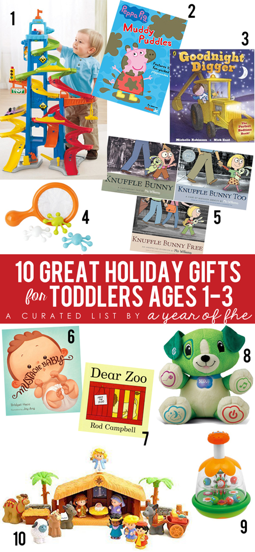 HOLIDAY GIFT GUIDE for TODDLERS (ages 1-3) by A Year of FHE.  This has some great ideas for gifts, along with product descriptions, and links where you can purchase!