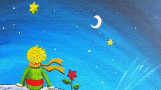 el principito sentado en su planeta junto a su rosa contemplando las estrellas y la luna