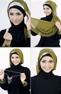 tutorial hijab segi empat satin pesta