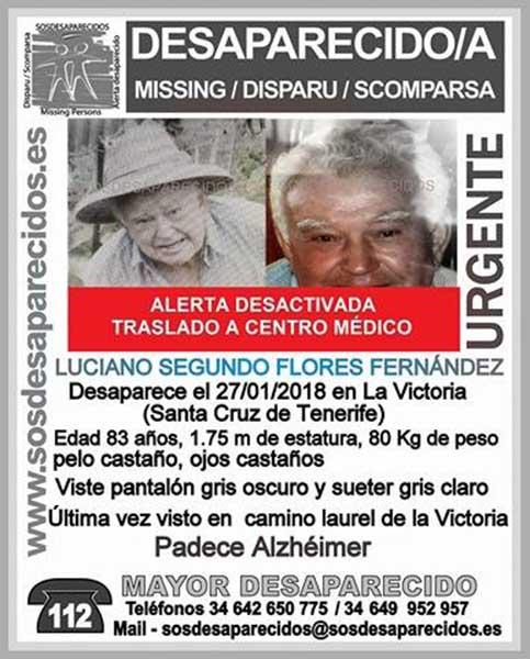 Localizado anciano desaparecido en La Victoria, Tenerife, Luciano Segundo Flores