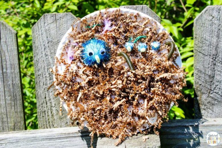 Spring crafts for kids - paper plate birds nest craft