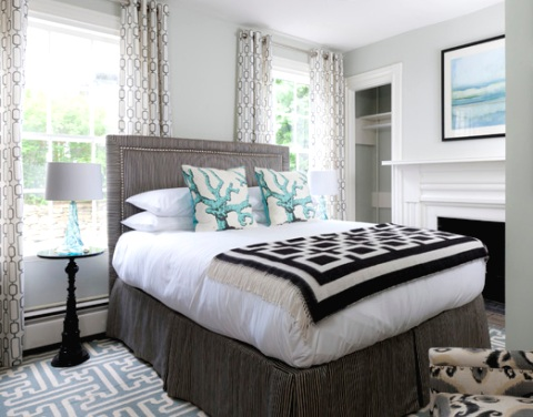 Coastal Gray Beach Bedroom with Turquoise Accents
