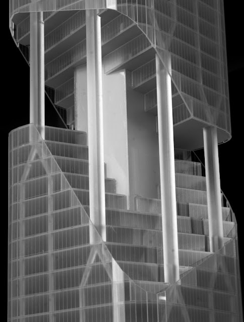 Close up photo of the model showing broken facade and vertical gardens