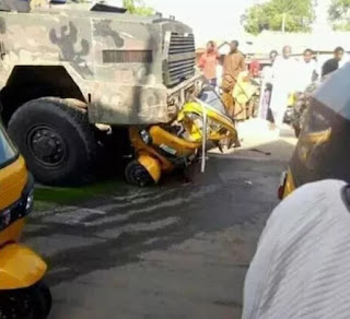 TRAGEDY!!! Speeding Nigerian Army Gun Truck Crushes Two People To Death