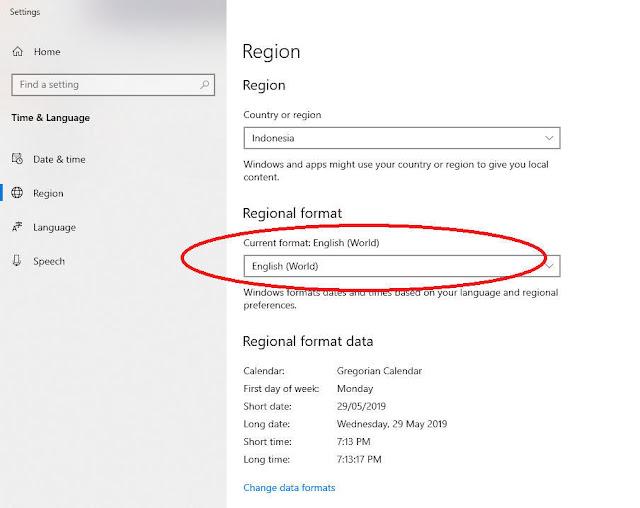 cara mengubah region format untuk memperbaiki CSV berantakan
