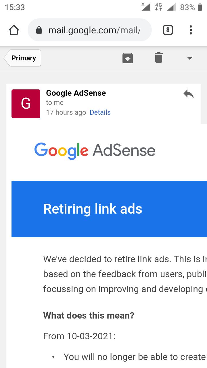 Retiring link ads