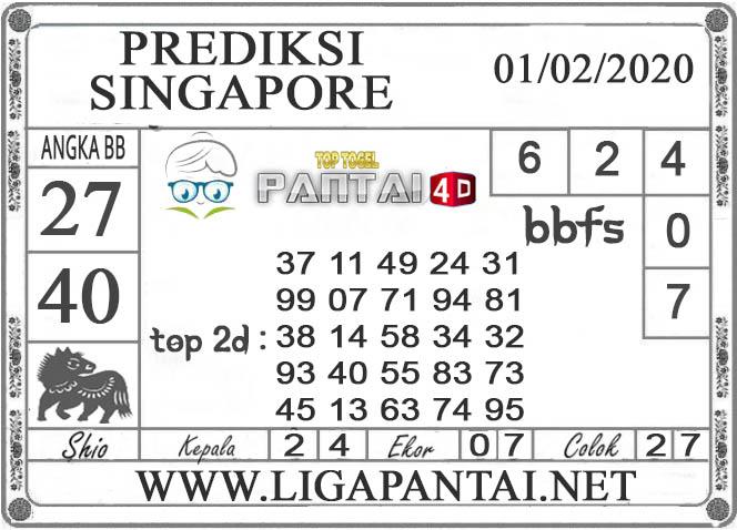 PREDIKSI TOGEL SINGAPORE PANTAI4D 01 FEBRUARI 2020