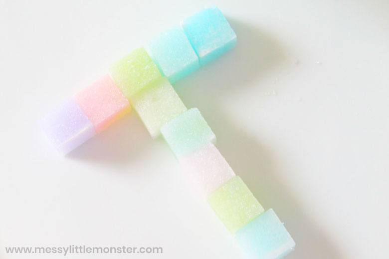 letter activity using coloured sugar cubes