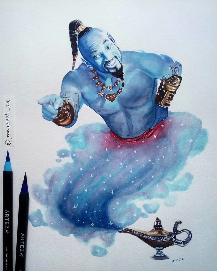 13-Will-Smith-Aladdin-Jenna-Steele-Collection-of-Pencil-Drawings-www-designstack-co