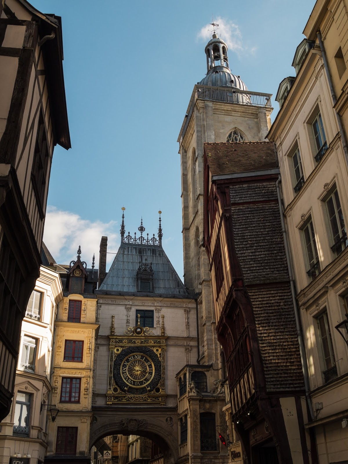 Gros Horloge street in Rouen with a view of the clock.