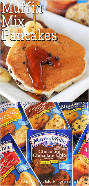 Muffin Mix Pancakes ~ See how to easily make delicious flavored pancakes in a seemingly endless variety of flavors using packaged muffin mix! So easy, and so good.  www.thekitchenismyplayground.com