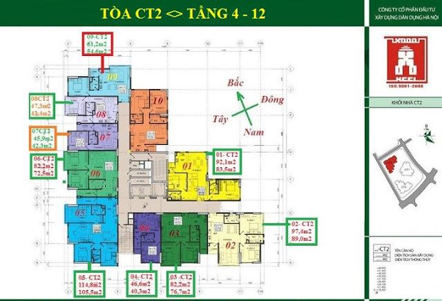 Mặt bằng tầng 4 - 12 tòa CT2 E4 Tower Yên Hòa