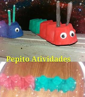 Fazendo arte na escola com material reciclável Lagartas feitas de caixa de ovos.