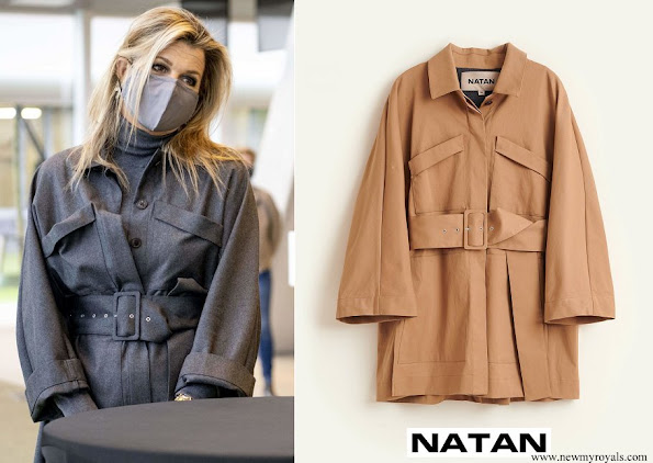 Queen Maxima wore a twill coat with pockets and belt from Natan