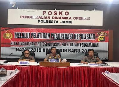 Kapolresta Jambi Bersama Wakapolresta Pimpin Kegiatan Latpra Ops Lilin Siginjai Tahun 2019