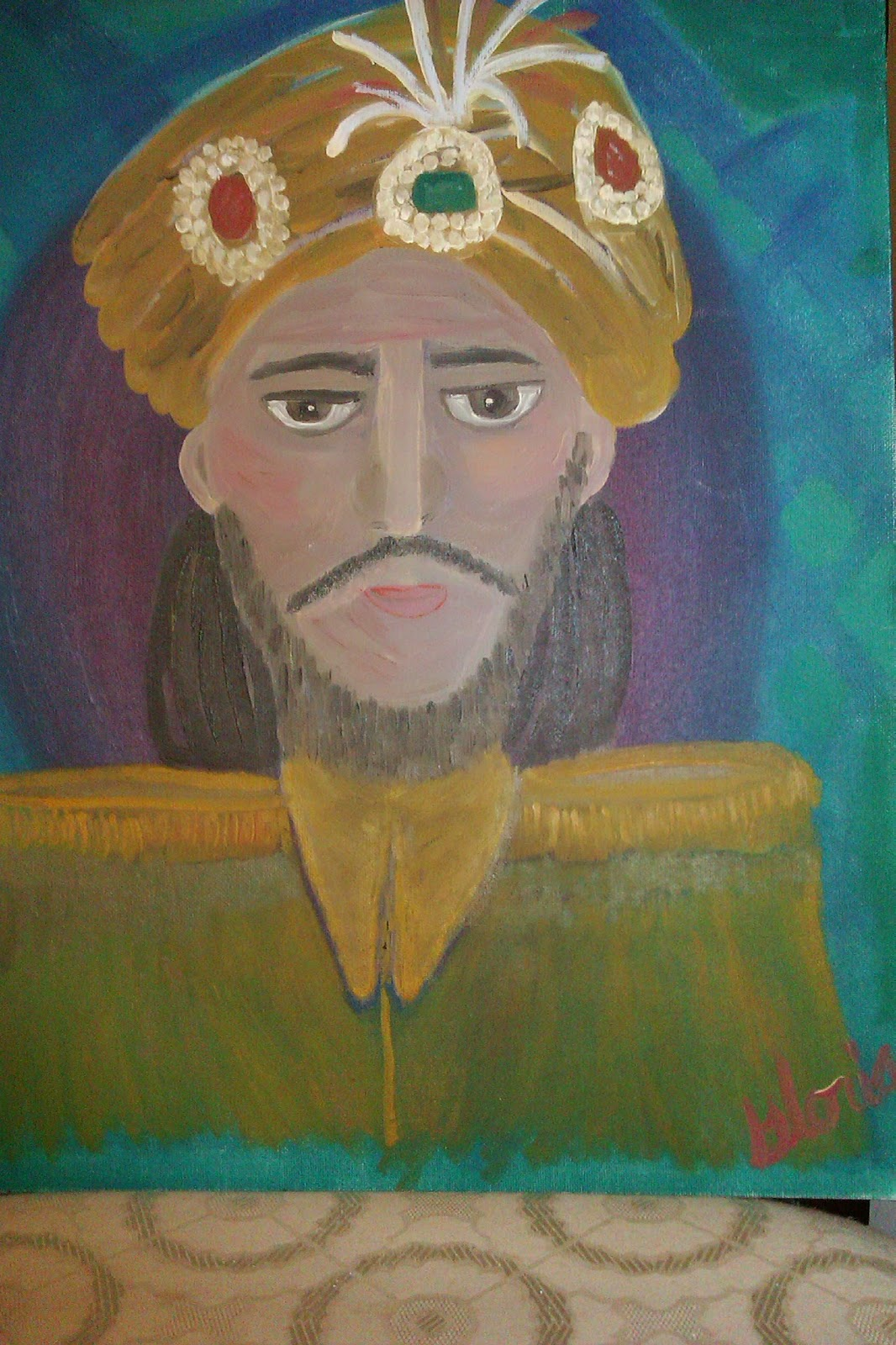 """The Sultan""oil painting for ethnic series by Gloria Poole; yr 2007"