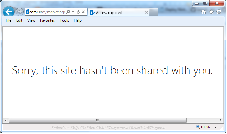 sorry this site hasn't been shared with you in sharepoint 2013