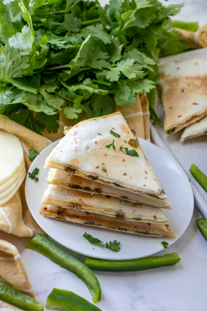 Philly Cheesesteak Quesadillas small stack with parsley