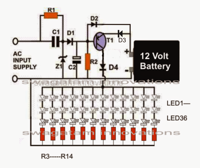 12v emergency light circuit circuit diagram images LED Battery Monitor Circuit LED Series Circuit