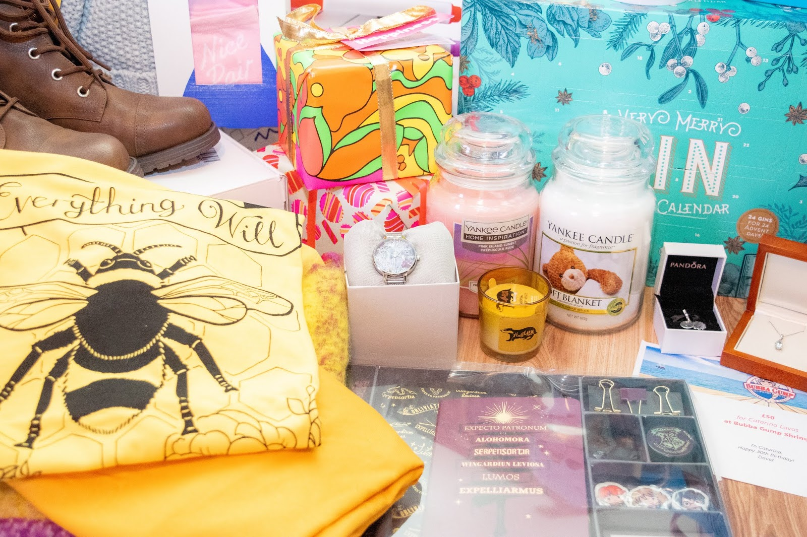 A close up of gifts gathered together.
