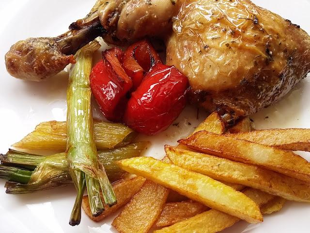 cuartos pollo con mantequilla al horno