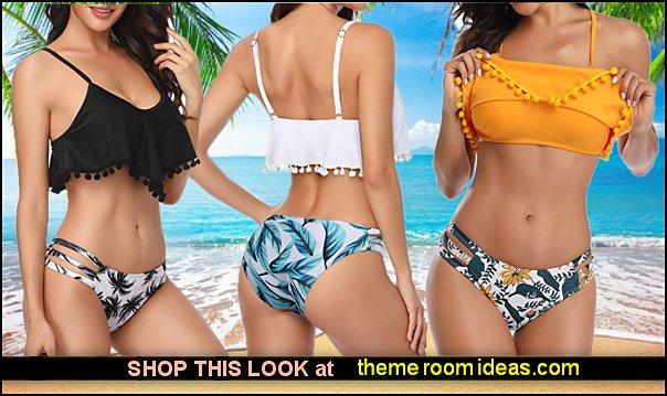 Women Ruffle Flounce Swimsuit Pom Pom Bikini Sets Bottom Cutout Bathing Suit