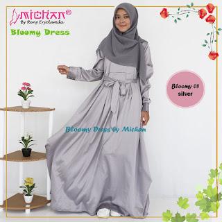 Gamis Michan Hijab Bloomy 08 Silver