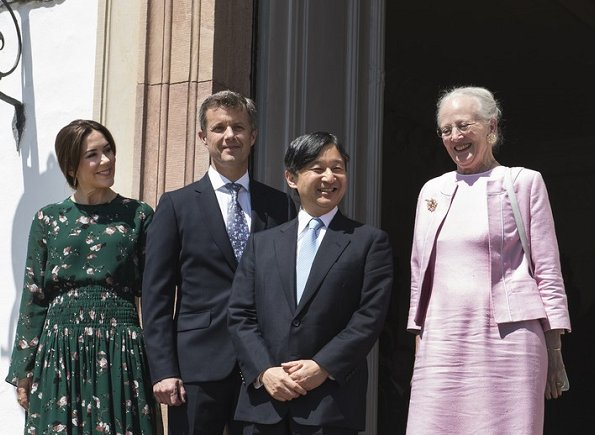 Queen Margrethe, Crown Prince Naruhito, Crown Prince Frederik, Crown Princess Mary wore Ganni Marietta Georgette Top and Skirt, Gianvito Rossi Pumps