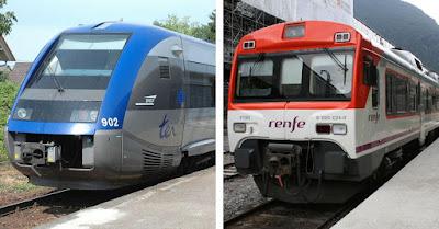 Trenes de la línea Olorón-Bedous y Zaragoza-Canfranc