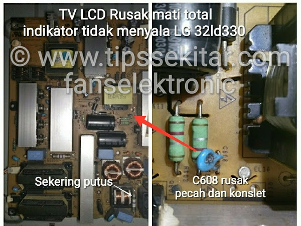 mengatasi tv lcd mati total tv lg 32