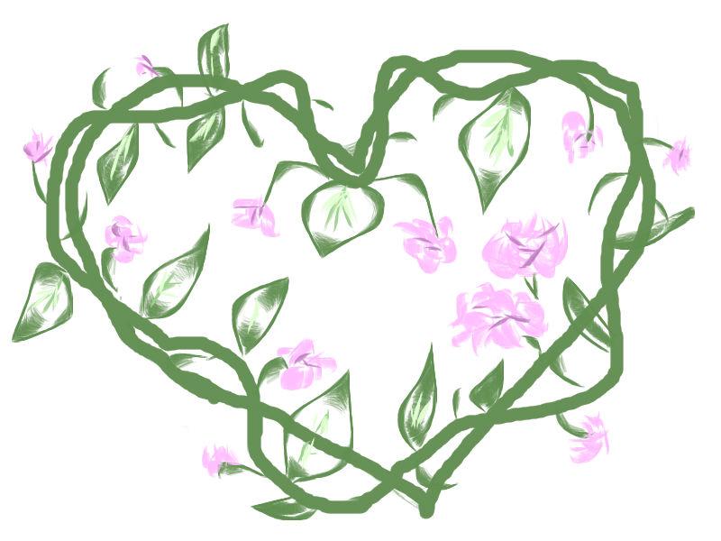 Un corazón de hojas verdes y flores rosas | Corazones inventados