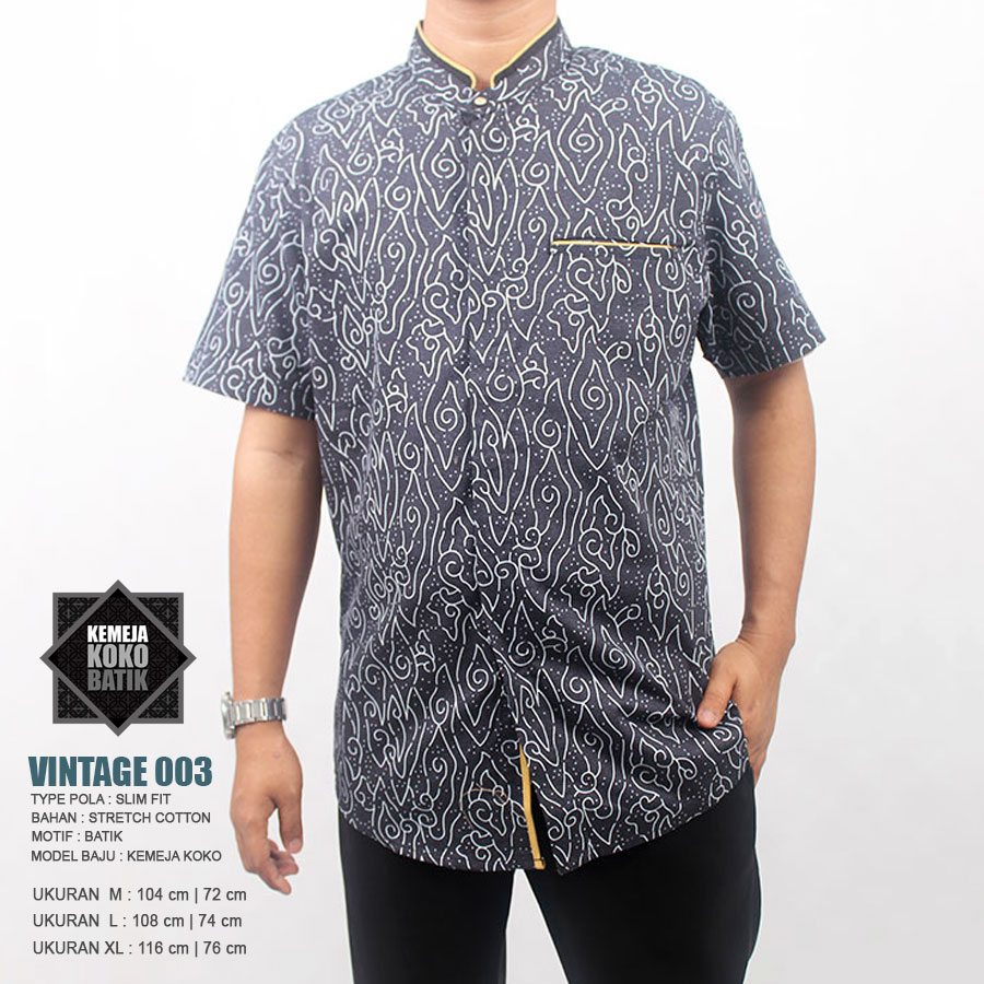 Grosir Baju Koko Harga Distributor Pasar Tanah Abang Busana Batik Grey M Kemeja 003