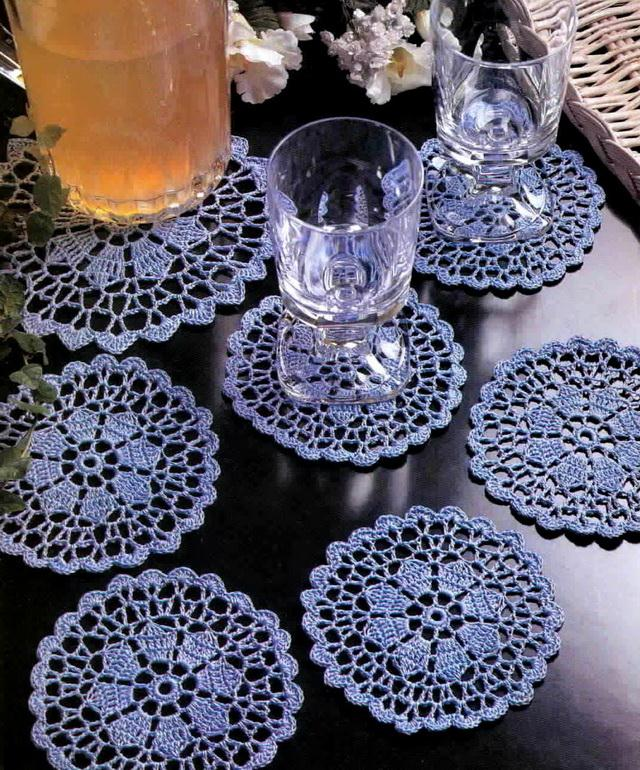 Crochet Coasters with Pattern, lace doily, Flower in center