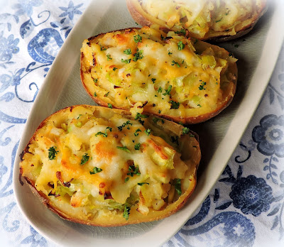 Twice Baked Potatoes with Leeks & Cheese