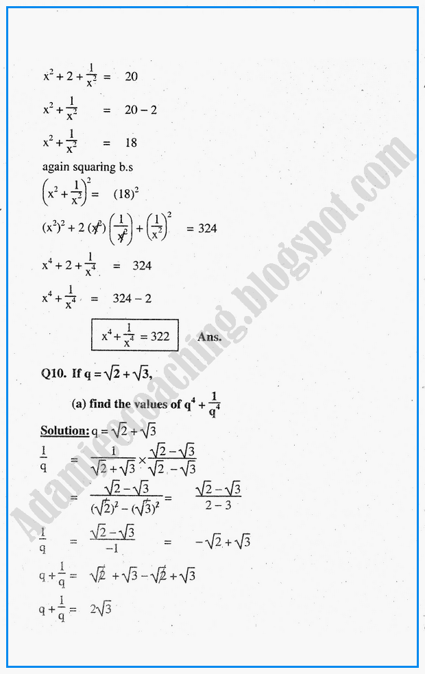 Maths Exercises Class 10 - ncert solutions for class 10