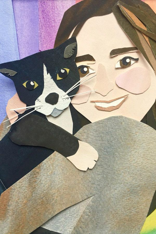 papercut smiling girl holding black and white cat