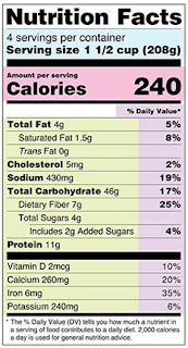 A nutrition facts label per serving