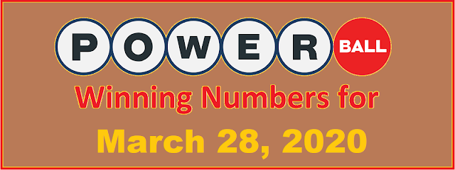 PowerBall Winning Numbers for Saturday, March 28, 2020