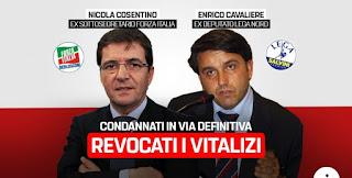 Non ci Fermiamo! Revocati i vitalizi ai condannati Cosentino (FI) e Cavaliere (Lega).