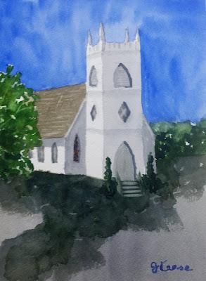 Plein Air Watercolor Church