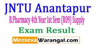 JNTU Anantapur B.Pharmacy 4th Year 1st Sem (R09) Supply Nov 2016 Exam Results
