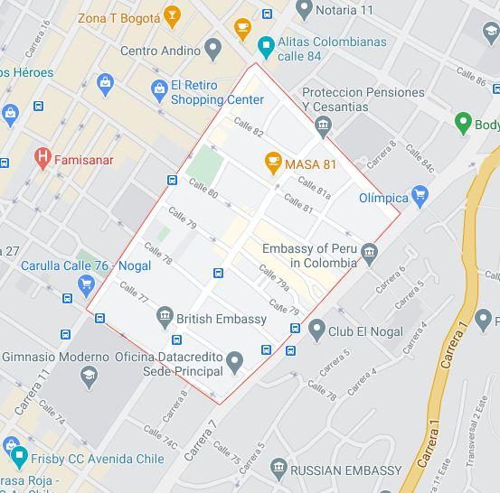 mapa barrios chapinero